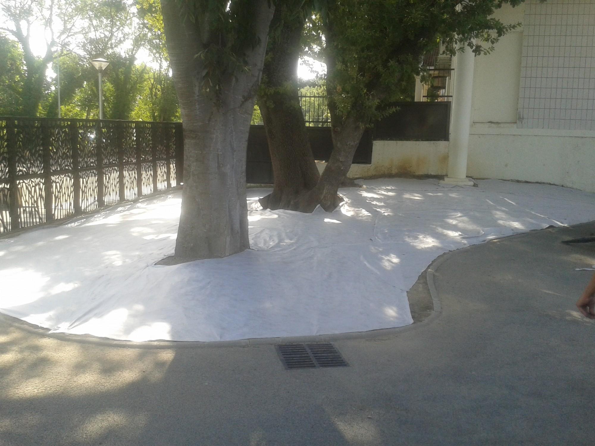 Pose d'une pelouse artificielle pour la mairie de Grans