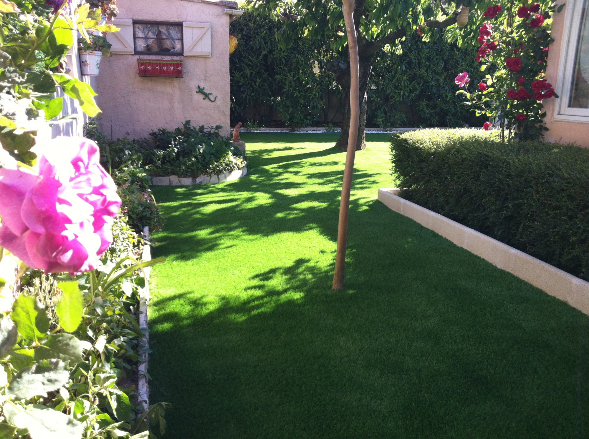 Pose d'une pelouse artificielle dans un jardin à Sainte Maxime
