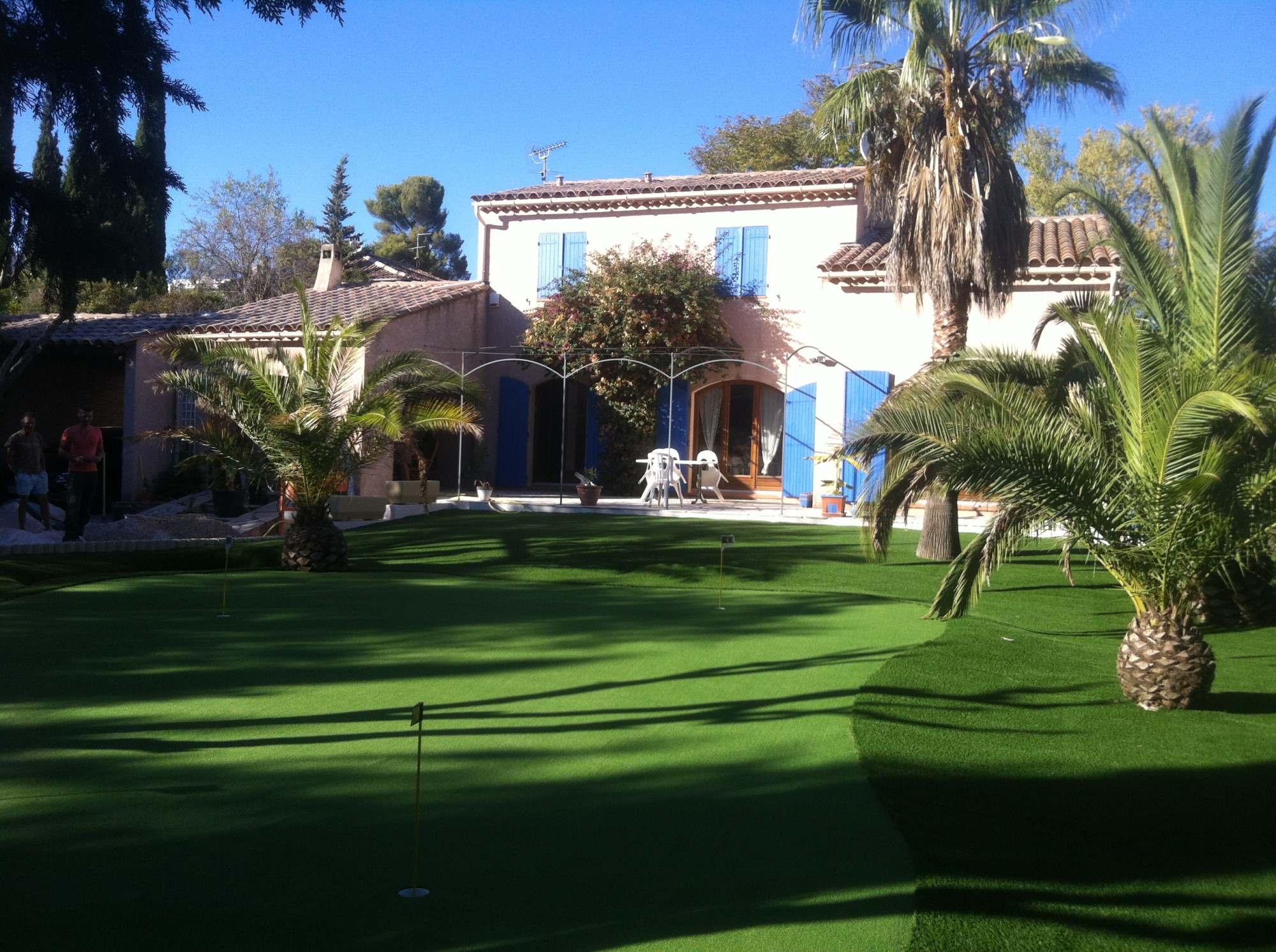 mise en place d'un putting green